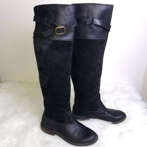 Lucky Brand Nivo Black Leather Over Knee Boots